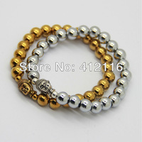 2013 New Products Wholesale 20pcs/lot Gold and Silver Hematite Stone Beads Antique Buddha Head Bracelets Jewelry