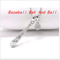 Free Shipping Styles Rhinestone Baseball Bat And Ball Pendants Necklace