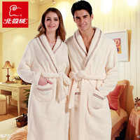 New arrival wincey lovers design male women's robe sleepwear comfortable home plus velvet thickening bathrobe