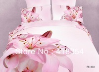 NEW Beautiful 4PC 100% Cotton Comforter Duvet Doona Cover Sets FULL / QUEEN / KING SIZE bedding set 4pcs flower pink lily