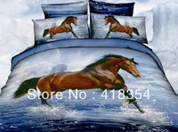 NEW Beautiful 4PC 100% Cotton Comforter Duvet Doona Cover Sets FULL / QUEEN / KING SIZE bedding set 4pc animal blue horse