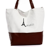 Free shipping top quality casual shoulder bag canvas tote bags,Eiffel Tower design ladies tote bag,fashion womens bag