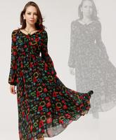 Fashion Women's Long Chiffon Dresses Western Style Long Sleeves Big Lap Slim Waist Loose Female Long Chiffon Dresses S-L
