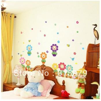Vidro girassol adesivos adesivos de parede sala de adesivos de parede do berçário quarto das crianças das crianças afixadas no rodapé