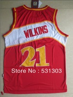 Free Shipping,#21 Dominique Wilkins Basketball jersey,Size 44-56