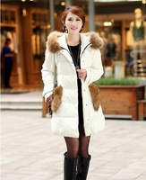2014  New Women's Down Jacket Women  Large  Fur Thickening Medium-long Winter Jacket Coat Plus Size S-XL 6 Colors #5332