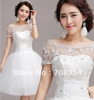 Sweet Princess Exquisite Lace Beading Ball Gown Short Wedding Dress/Short Style Bridal Dress