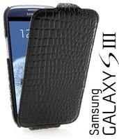 Black Crocodile Flip Leather Skin Case Cover For Samsung Galaxy S 3 III S3 I9300