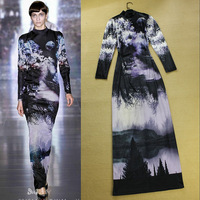 2013 Autumn Runway Fashion Lady Turtleneck Long Sleeve Gradient Color Ink Painting Print Sheath Long Cocktail Dress