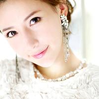 White colour bride married long tassel design fashion rhinestone no pierced earrings needle clamp