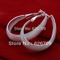 JE064 Free shipping lowest price wholesale 925 solid Silver earring Fashion women charm Jewelry earring,Web Earrings