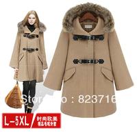 Free Shopping Women High-grade Coat 2013 Winter Fashion Plus Size Clothing Woolen Outerwear Plus Size Woolen Overcoat Size L-5XL