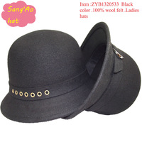 wholesale new black felt hat winter for women100 wool felt hat wear for warm and in fall ,spring and topee hat style cheap price