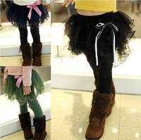 Female child yarn culottes plus velvet thickening child boot cut jeans faux two piece baby skirt legging autumn and winter