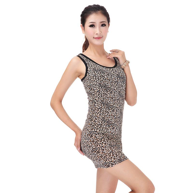 Honey sexy leopard print tank y spaghetti strap basic shirt(China (Mainland))