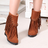 2013 autumn and winter boots tassel boots female shoes flat boots with a single elevator platform high-heeled short boots snow