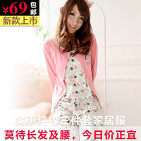 2013 autumn and winter sweet casual sexy elegant women's 100% long-sleeve cotton sleepwear autumn set piece set