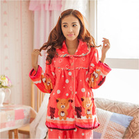 2013 cartoon polka dot long-sleeve coral fleece lounge thickening women's flannel sleepwear female set