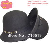 wholesale new black felt bucket cap for women100% wool felt fur hat wear in Winter ,fall ,spring and topee hat style cheap price