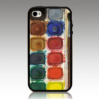For iphone4 4s iphone5 5s iphone 5C case Watercolor Paint Set Palette hard TPU mix PC Phone cover Wholesale Retail