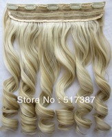 Top Fashion Heat Resistant Synthetic Hair Highlight Hair Clip in Hair Extensions Wavy Hair #F24/613 Brown Blonde Hair for Women