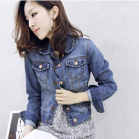 2014 plus size autumn ladies' jacket fashionable denim outerwear elegant long-sleeve denim short jacket S-4XL Free shipping