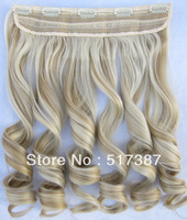 Best Seller Heat Resistant Synthetic Hair Highlight Clip in Hair Extensions Wavy Hairpieces F24/613 Brown Blonde Hair for Women