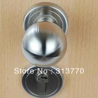 85mm Free shipping  2pcs handles with lock body+keys 304 stainless steel wooden door knob door lock