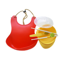 Child dinnerware set newborn bibs waterproof baby spoon training chopsticks bowl