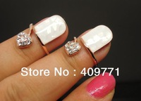 HOT! Band Quality Fashion Alloy Plated Real Gold Bling Crystal Heart Shell Surface France Nail Ring, Wholesale & Retail