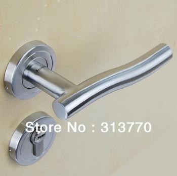85mm Free shipping  2pcs handles with lock body+keys 304 stainless steel door lock the bedroom wooden door handle door locks