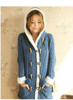 2013 women's sweet plus velvet thickening with a hood cardigan outerwear female horn button