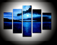 Free shipping, unique gift handmade 5 piece/set blue seascape landscape oil painting on canvas wall art   Home decoration framed