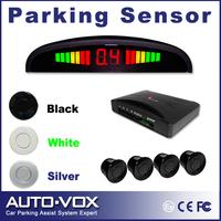 Car LED Backlight Display Parking Reverse Backup Radar System with 4 Sensors 3 colors E204 parking asistance free shipping