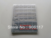30  openings per page  3.5cm*3.5cm, 20pcs/lot Vinyl Coin Pages Plastic Page