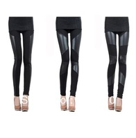 New Womens Sexy Stitching Stretchy Faux Leather Skinny Leggings Pants