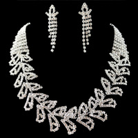 MIN.ORDER $15,shining rhinestone jewelry set for wedding 10170 leaves pattern chain