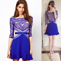 2015 Fashion blue sexy lace half sleeve ruffle women's one piece dress free shipping