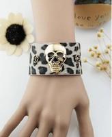 Fashion Jewelry Vintage Golden Skull Black Spots Leopard Pattern PU Leather Rose Width Bracelet DIY Free Shipping 10pcs Z1733