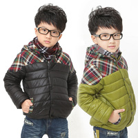 2013 children's winter clothing male child wadded jacket female child clothes short design plaid outerwear