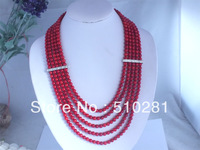 ELEGANT FASHION RED CORAL BEAD CHAIN NECKLACE WITH SILVER SPACERS