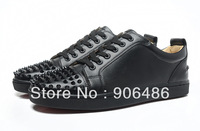 Drop Ship Wholesale 2014 New Sneakers Louis Junior Spike Flats Fashion Red Bottom Men Women  Leather Quality Brand Black Shoes