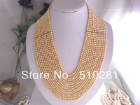 ELEGANT NOBLE YELLOW PEARL BEAD CHAIN NECKLACE WITH SILVER SPACERS