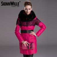 Gish villmergen fashion new arrival winter thickening large fur collar slim medium-long down coat female 73009