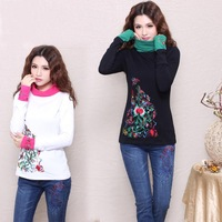 Fashion slim embroidery pattern women turtleneck clothes 2014 spring and autumn long sleeve t shirt ethnic style WFS013