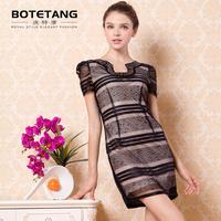 Porter 2013 autumn women's slim beading short-sleeve slim one-piece dress