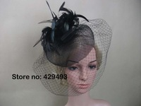 2013 New arrive Fascinator hat , fascinator double hat and feather on a clip for wedding /church/party/races.