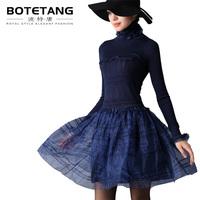 Porter 2012 turtleneck knitted patchwork slim one-piece dress