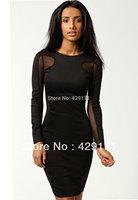 2013 autumn winter new arrival fashion slim hip bilateral lace sexy knee-length bodycon dresslong sleeve club wear black white