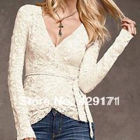 2014 new fashion deep V-neck black slim hip women's long sleeve top sexy lace t shirt european style clothing hot sale
